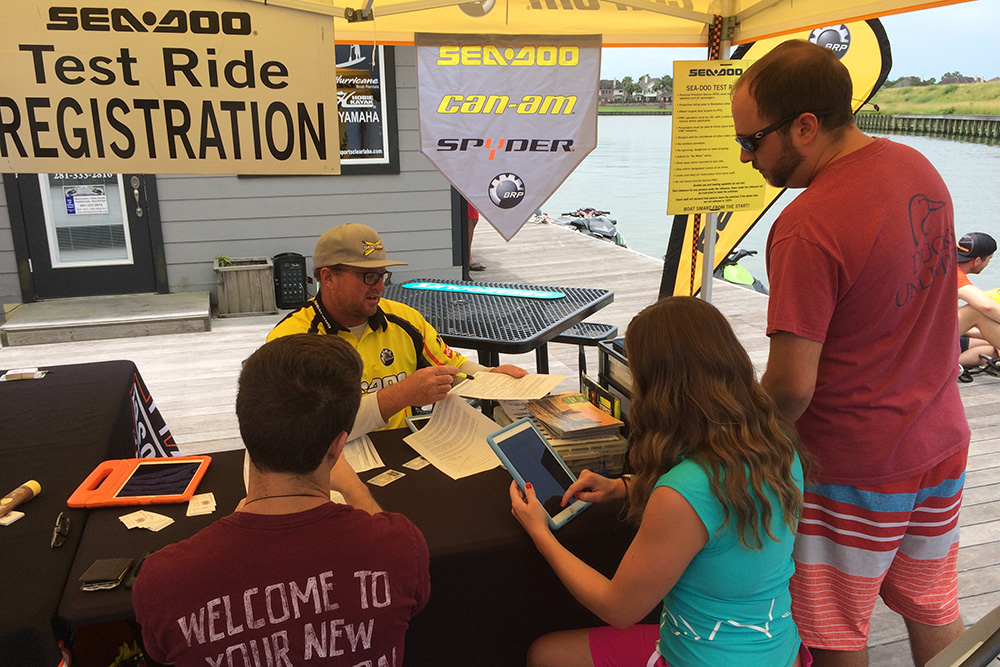 LOOK Marketing's Tim McKercher registering Sea-Doo demo ride participants.